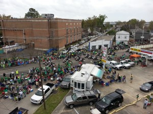 Hunt Telecom Roof Top View St Patrick's Day Parade in Metairie